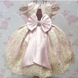 Wholesale Kids Hot Pink Ball Gowns - Hot Sale Newest Blush Pink Cap Short Sleeve Satin Flower Girl Dresses Appliques Kids Pageant Dresses A-line Bow Lace Baby Party Dress 2017