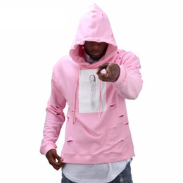 Wholesale Male Tracksuits - Mens hip hop pink hoodies sweat suit tracksuit men with the hole hoodies winter male streetwear free shippi