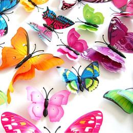 2019 ragazzo amante del fumetto 12pcs Mix Dimensione 3D Farfalla Decalcomanie Creativo a doppio strato Colore Farfalla Parete Incolla Decorazione della parete Farfalle DIY Wall Stickers
