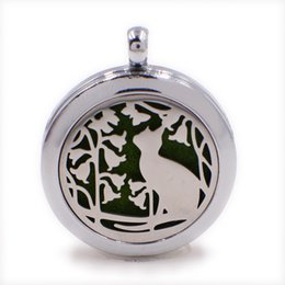 Wholesale Rope Cat - Flower Cat Perfume Aromatherapy Essential Diffuser Locket XX163 Alloy 30mm Hollow Locket Silver Free Felt Pads Best Fashion Birthday Gift