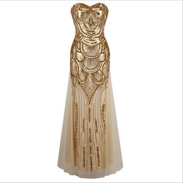 Wholesale Cheap Hot Sexy Clothes - Hot Selling Mermaid Evening Dresses 2017 Bling Gold Sequins Party Prom Dress Floor Length Formal Clothing Sexy Stock Cheap Women Dress