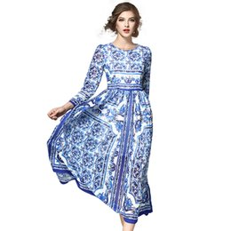 Wholesale Blue White Dress Porcelain - 2017 New Woman Long Sleeve Dress Fashion Blue And White Porcelain Printing Bohemian Dress Woman Chiffon Dress