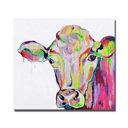 Wholesale Life Size Cows - Colorful Cow,Pure Hand Painted Abstract Modern Wall Decor Pop Cartoon Animal Art Oil Painting High Quality Canvas.Multi customized size C047