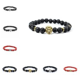Wholesale Good Wood Pieces - Good A++ Natural stone Buddha hand string volcanic stone lion head yoga bracelet FB019 mix order 20 pieces a lot Beaded, Strands