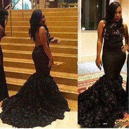 winter rose flower Australia - 2018 Sexy Black Mermaid Prom Dresses with Rose Flowers Skirt Party Dresses Backless Lace Evening Gowns South African Celebrity Gowns