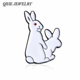 Wholesale Gift Ideas Jewelry - Wholesale- QIHE JEWELRY 2 White Rabbits Evil Brooch Pins Gold Hard Enamel Kawaii Pins Animal Brooch Jewelry Gift Idea For Girl Boy