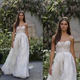 Wholesale Monique Lhuillier Bridal - Monique lhuillier 2017 Beach Wedding Dresses Lace Appliqued Strapless Neckline Sweep Train Vintage A Line Bridal Gowns