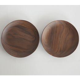 Wholesale Walnut Rounds - 15cm   5.9inch Black Walnut Plate Dessert Fruit Dish Tray Tableware Round Saucer for Storing Dessert Snacks