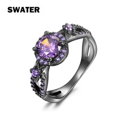 Wholesale Gun Rings For Women - Wholesale Jewelry Ring For Wedding Party Bridal Garnet Crystal Rings Black Gun Plated Cubic Zirconia Flower Finger Ring For women Girl Bague