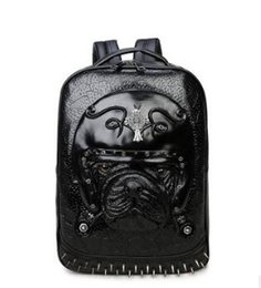 Wholesale Pet Rocks - Leisure Large Capacity Brand Men Bag High-end 2D Three-dimensional Pet Head Mens Leather Backpack European And American Style Rivet Student