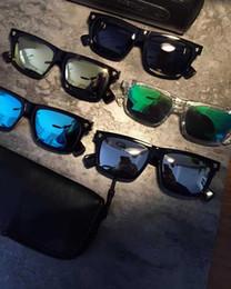 Wholesale Finish Cat - Designer Chrome Finish Polarized Sunglasses Black Square Eyewear - unisex Brand New With Case