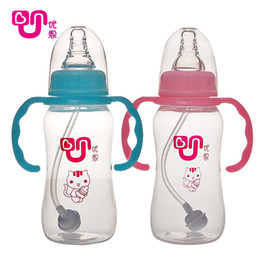 Wholesale Wholesale Baby Bottle Covers - Wholesale-baby bottle characterstraight body standard 180ml 240 ml pink yellow light Calibration clear Dust cover hot baby feeding bottle