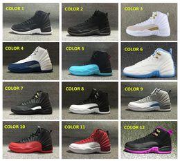 Wholesale Deep Blue Rhinestones - Wholesale Air Retro 12 Grey Wool Basketball Shoes Deep Loyal Blue Suede Black White OVO Gym Red Cherry Flu Game Shoes US5.5-13