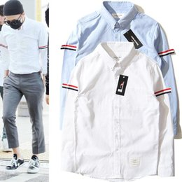 Wholesale New Shirt Style Collection - 2017 TB new collection top version off white men Fashion casual shirts hiphop Striped long style shirts abloh