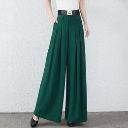 Wholesale Spring Wide Leg Pants - Wide leg pants for women elastic waist plus size black green high waist spring autumn new fashion full length loose trousers female yys0702