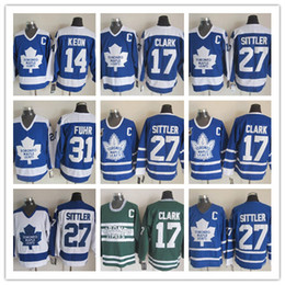 b630afb40 Retro Toronto Maple Leafs Jerseys 27 Darryl Sittler 31 Grant Fuhr 14 Dave  Keon 17 Wendel Clark CCM Vintage Classic Blue White Green