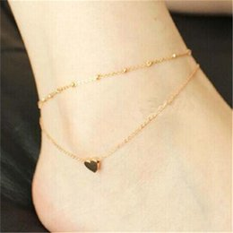 Wholesale Ankle Bracelet Heart - Women's Love Heart Shape Ankle Bracelet Double Layers Chain Sexy Foot Anklet calzerotto Tornozelo Barefoot Accessories MY-010