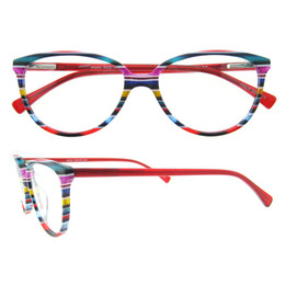 Wholesale Italians Bags - BLue Red Brown Strips Rainbow Series Oval Full-rim Unisex Italian Fashion Design Acetate Prescription Optical Spectacles
