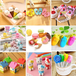 Wholesale Cake Erasers - Wholesale- Kinds Of Eraser Rubber Stationery New Cake Macaron Tooth Lollipop Slippers Cream Creative Cute School Supplies For Kids H1069