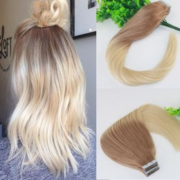 Wholesale seamless weft extensions - Two Tone Tape in Human Hair Extensions #18#613 Ombre Blonde Seamless Brazilian Virgin Human Hair Skin Weft Slik Straight100g 40pcs
