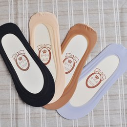 Wholesale Thin Cotton Slippers - Wholesale- Cotton Sock Slippers Invisible Socks Women Solid Black Grey Skin Color Socks For Girls Thin Breathable Sock For Woman Summer