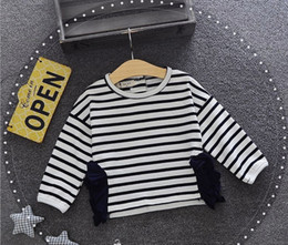 Wholesale Red Striped Baby Shirt - Newborn T-shirt baby littler girls stripe long sleeve Tees chilren falbala princess tops 2017 autumn fashion new girls cotton clothing T472