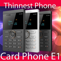Wholesale Smallest Mini Mobile Phone - 2017 new style small size IFcane E1 Card phone mini mobile phone ultra thin mini credit card phone FM Radio mini cheap phones