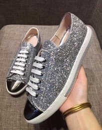 Wholesale 2017 Fashion miu mi Women Designer sparkling sequins crystal studded Sneakers Famous Brand Genuine Leather Trainers Casual Shoes Size