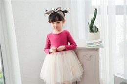 Wholesale Long Dresses Net Neck - Girls net yarn dress 2017 spring new children long sleeve splicing tulle tutu dress 6 color kids princess dresses children colthing T1133