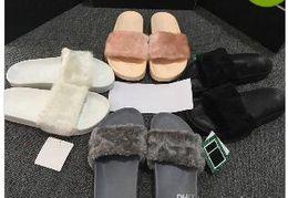 Wholesale Girl Leather Fashion - Cheap New RIHANNA LEADCAT FENTY WOMEN SLIPPERS Girls Fashion Indoor Slide Sandals Scuffs Grey Pink Black White