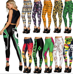 Wholesale Women Pumpkin - Women Halloween Skull Digital Print Leggings Yoga Sport Stretch Trousers Pants 3D Pumpkin Bloody Leggings Slim Leggings Trousers KKA2873