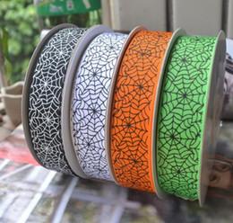 Wholesale Halloween Grosgrain Ribbon Wholesale - Width 25mm Halloween Series Print Grosgrain Ribbons Spider Web Handmade DIY Bows Cloth Material Ribbed Band 100Yards = 1Piece
