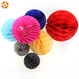 Wholesale Sky Lanterns For Wedding Decorations - 15PCS Lot Mix Size 6''8''10''(15cm,20cm,25cm) Tissue Paper Lantern Honeycomb Ball For Wedding Party   Baby Shower Decorations