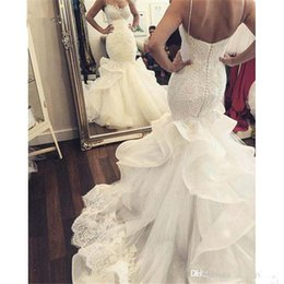 Wholesale Pnina Wedding Dresses Plus Size - Vintage 2017 Mermaid Lace Wedding Dresses Peearls Sequins Beaded Plus Size Arabic African Pnina Tornai Bridal Gown
