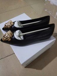 Wholesale Gold Head Dress - Women Genuine Leather Flats Lady Fashion Gold Head Shoes