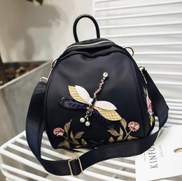 Wholesale Dragonfly Wind - wholesale brand bag court wind 3D dragonfly embroidery backpack fashion waterproof nylon shoulder bag exquisite embroidery diamond Backpack