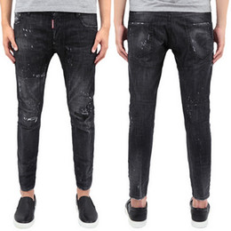 Wholesale Vintage Paint - Black Damaged Jeans Distressed Vintage Wash Paint Platters Belt Loops Button Fly Logo Patch Slim Fitness Denim Trousers Man
