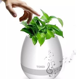 Wholesale Bluetooth Toys - Touch Wireless Bluetooth Flowerpot Mini Subwoofer Speaker with LED Multiple Colors Home Smart Plant Office Music Player Toy