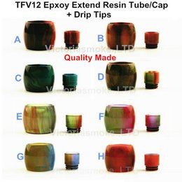 Wholesale Made Electronics - Quality made Replacement TFV12 Epoxy Resin Extend Cap Tube Caps with Resin Drip Tips for Electronic Cigarette Glass Smok TFV12 Tank Atomizer