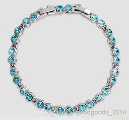 Wholesale Element Austrian Crystal - Austrian crystal full diamond bracelet Sterling Silver Swarovski Crystal Elements jewelry Optional multicolor a510