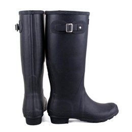 Wholesale Hunter Rain Boots Glossy Red - 2017 Hunter Tall Boots Women Wellies Rainboots Ms. Glossy Wellington Rain Knee Waterproof Water Proofing Matte Shoes Wellington high boots