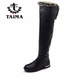 Wholesale Winter Casual Shoes For Women - Wholesale-TAIMA Brand Women Fashion Boots Winter Knee-High Fur Snow Boots Female Warm PU Leather Boots Winter Casual Shoes For Woman