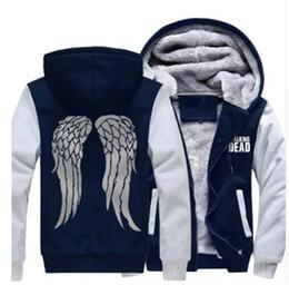 Wholesale Jacket Winged Sleeves - Men Women Hoodies jacket The Walking Dead Daryl Dixon Thicken Coat Hoodie Zombie Wings Winter Fleece Jacket