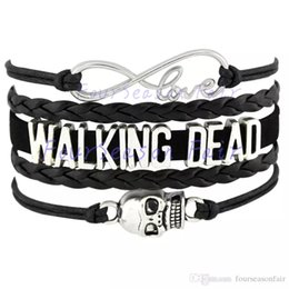 Wholesale Drop Dead Wholesale - Custom-Infinity Love Walking Dead Skull Charm Gift for Lovers Wax Cords Wrap Braided Leather Bracelet Adjustable Bangles-Drop Shipping