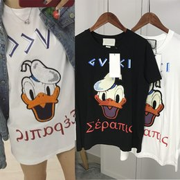 Wholesale Trendy Mens White Shirt - 2017 Fashion Donald Duck Floss Embroidery Towel Printed Letters Casual T-Shirt Summer Trendy Mens Short Sleeve Tee Tops Brand Clothing