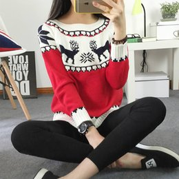 Wholesale Snowflakes Wrap - Wholesale-2017 Women's Christmas Reindeer Snowflakes Sweater Pullover Red All Wrapped Up Ugly New Year Christmas Sweater Jumper Pull Femme
