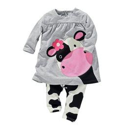 Wholesale cow neck shirt - 2017 Spring Milk Cow Baby Girls Clothes Sets Newborn Jumpsuits Baby T-Shirts Pants Girls Dress 2-Pieces Pajamas Sleepwear Cotton
