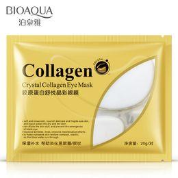 Wholesale Crystal Stickers - Wholesale-2pcs=1bag=1pair Hot sale BIOAQUA Crystal Collagen Eye Mask Sticker anti-aging anti-puffiness dark circles moisturizing eye care