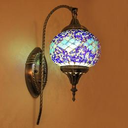 2019 mosaico mediterrâneo Estilo europeu boêmio mediterrâneo sala de estar quarto varanda bar lâmpada de cabeceira espelho farol lâmpada de parede de mosaico mosaico mediterrâneo barato