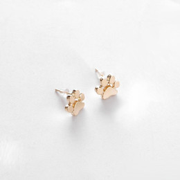 Wholesale Puppy Cats - hollow pet cat dog lover paw print stud earrings Puppy Memorial Minimalist earring cute animal footprint gold silver plated earrings